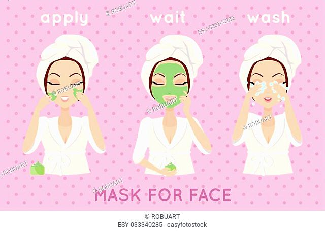 Mask for face. Girl applying a face smask for a few minutes to eliminate dead skin cells. Woman instruction how to make up correctly