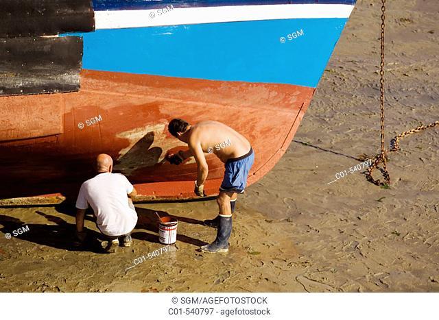 Fishermen painting. Erquy. Brittany, France