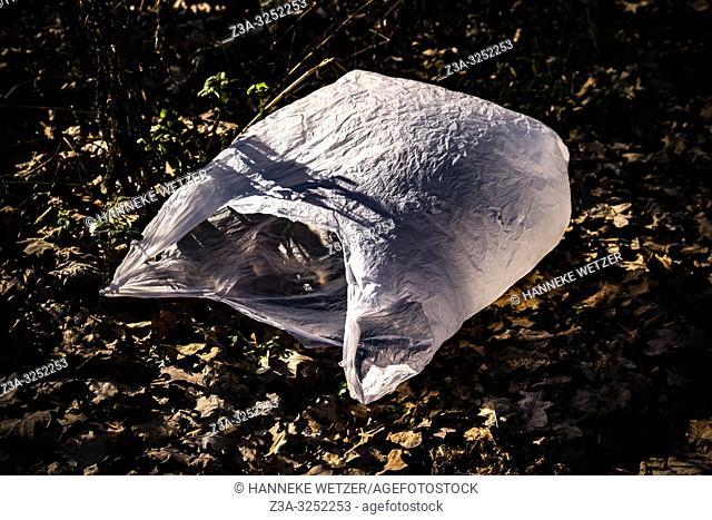 Plastic bag in nature
