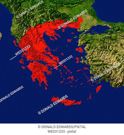 Highlighted satellite image of Greece