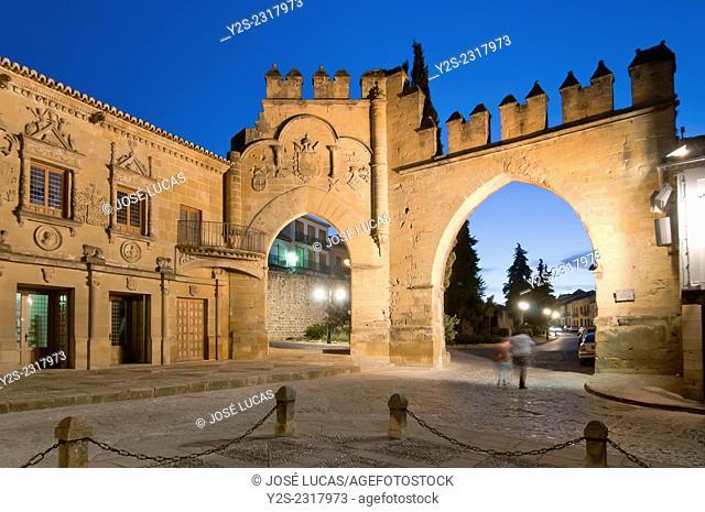 Jaen door and Villalar arch, 16th century, Baeza, Jaen province, Region of Andalusia, Spain, Europe