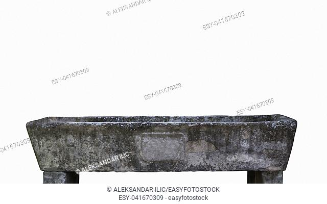 Old Watering Trough Isolated On White Background