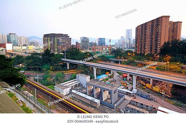 very high-speed train go through the city