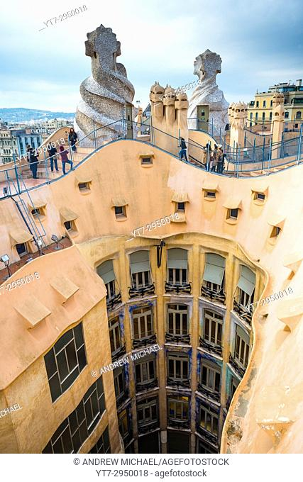 Barcelona, Gaudi's The Pedrera (Casa Mila), Spain