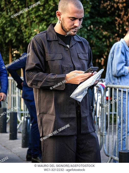 PARIS, France- September 27 2018: Marc Goehring on the street during the Paris Fashion Week