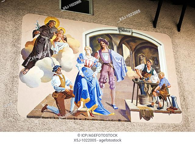 Traditional painted mural on a house wall in Garmisch-Partenkirchen, Bavaria, Germany, Europe