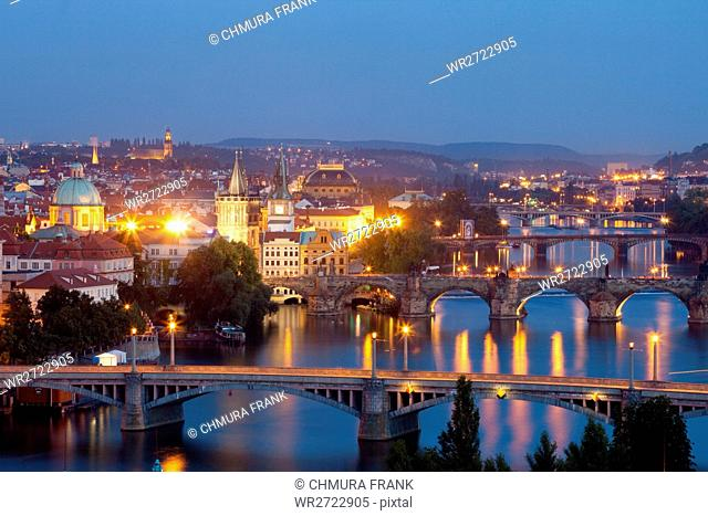 czech republic, prague - bridges over vltava river at dusk