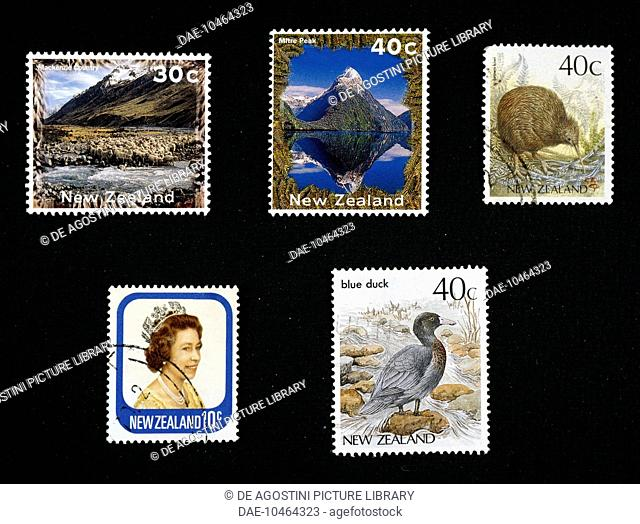 From left to right, top to bottom: postage stamp depicting Mackenzie Country, 1996; postage stamp depicting Mitre Peak, 1995; postage stamp depicting a kiwi