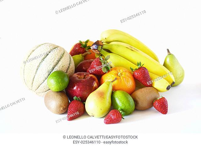 Mixed fruits group on white background