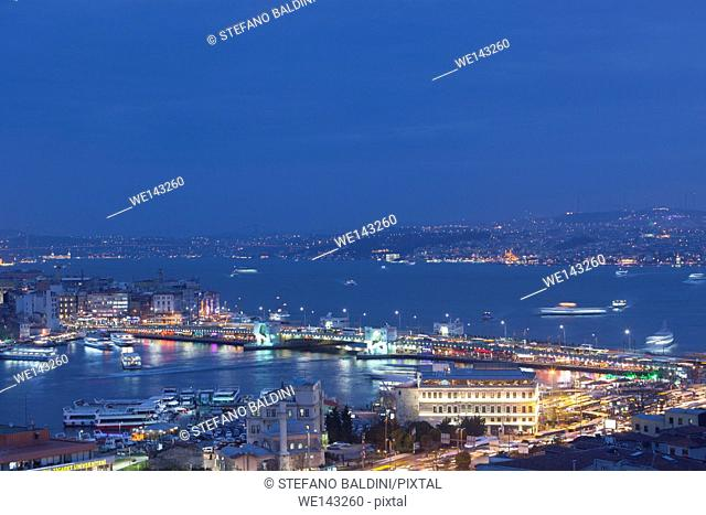 Istanbul cityscape at night, Turkey