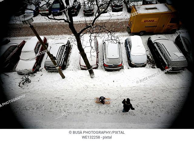 Snow in Berlin, bird's eye view