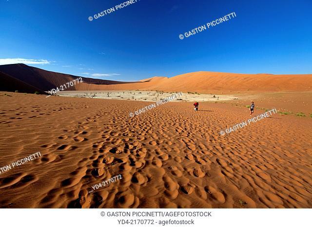 People at the Dead Vlei, Namib-Naukluft National Park, Namib desert, Namibia