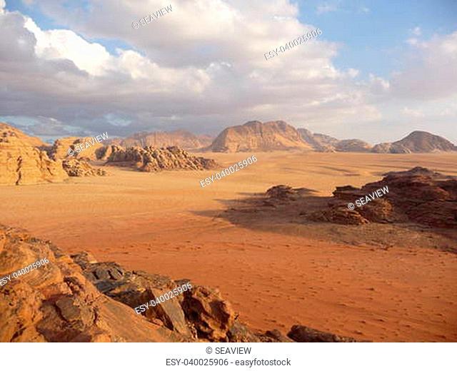 Golden colored sand in Wadi Rum desert in Jordan