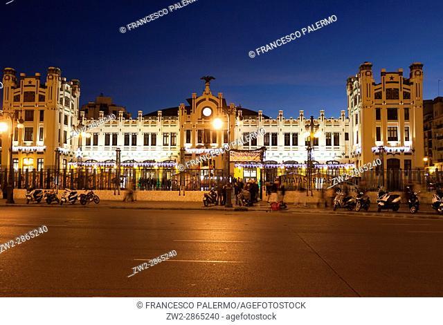 Facade of north railways station in a stunning twilight. Valencia, Spain