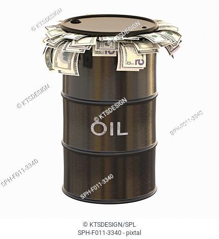 Oil barrel with US dollars inside, computer illustration