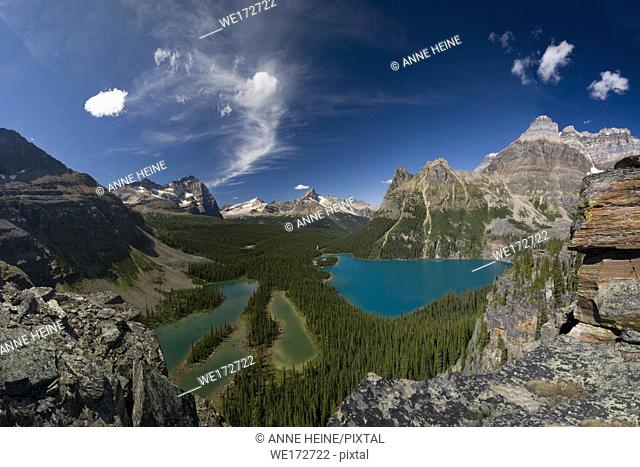 Lake O`Hara (turquoise) and Mary Lake (blue) seen from above. Lake O`Hara area, Yoho National Park, British Columbia, Canada