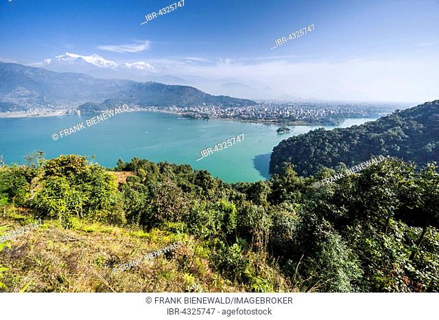 Aerial view of Phewa Lake and Pokhara Lakeside, Annapurna mountains in the distance, Thumki, Kaski, Nepal