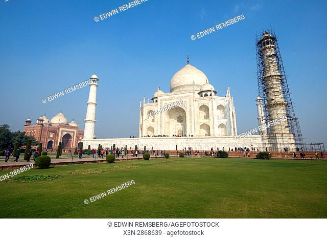 View of the main Taj Mahal tomb from one of the complex's formal gardens, located in Agra, India