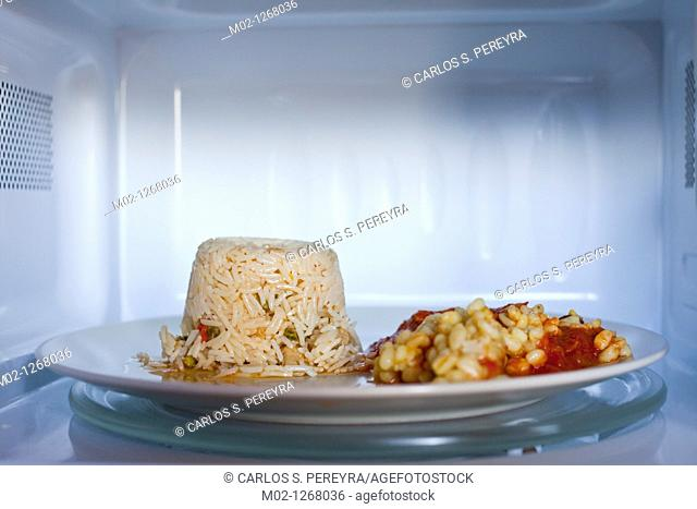 vegetarian food is cooked in a microwave oven practice