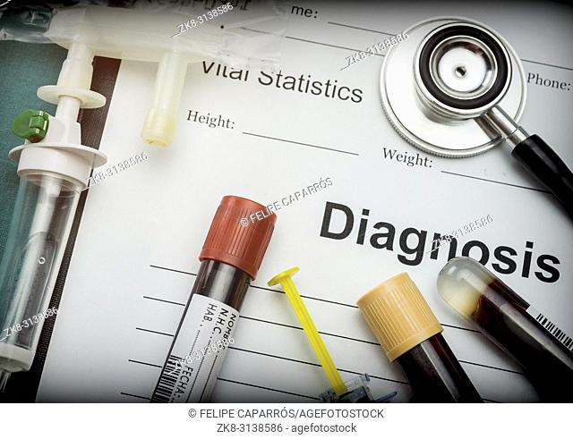 Diagnostic form, Vial of blood samples and Medicine in a hospital, conceptual image