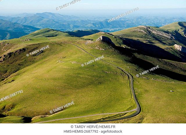 France, Pyrenees Atlantiques, the road in the French Pyrenees, between Saint Jean Pied de Port and Roncevaux, at the approach of the pass of Bentarte which...