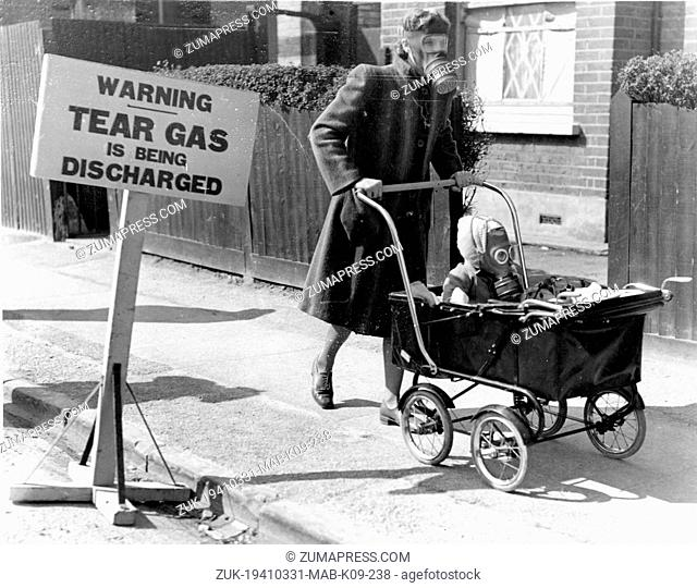 Mar. 31, 1941 - Kingston, England, U.K. - A gas excercise for civillians was held at Kingston on Thames, when vapour gas was used