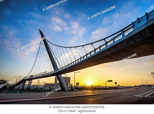 The Harbor Drive Pedestrian Bridge photographed during Sunrise. San Diego, California, United States