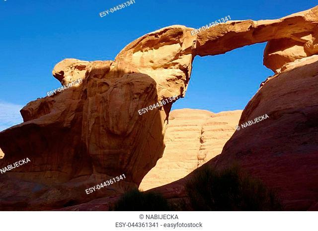 Jordanian desert called Wadi Rum, Middle East region