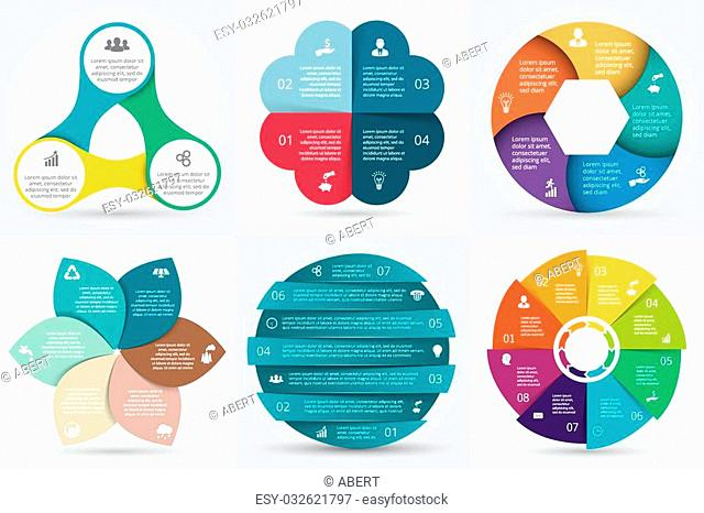 Vector circle elements set for infographic. Template for cycling diagram, graph, presentation. Business concept with 3, 4, 5, 6, 7 and 8 options, parts