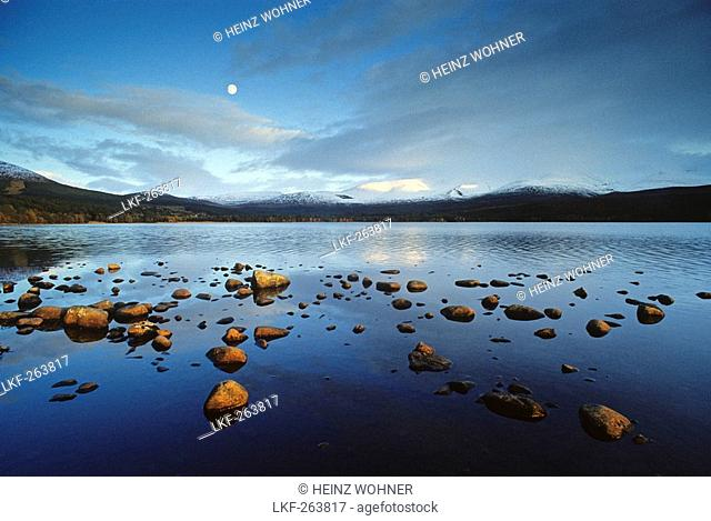 Loch Morlich, view towards the snow-covered Cairngorm Mountains, Highlands, Grampian, Scotland, Great Britain, Europe