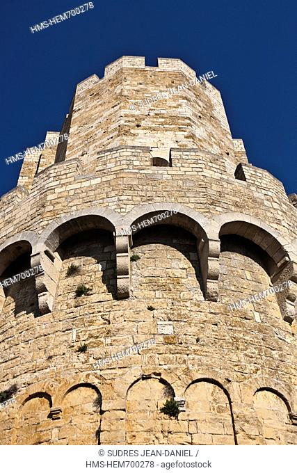 France, Bouches du Rhone, Parc Naturel Regional de Camargue Regional Natural Park of Camargue, Saintes Maries de la Mer, East end of the fortified Romanesque...