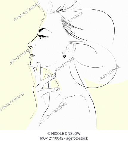 Pencil sketch of beautiful woman's profile