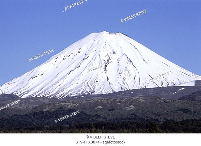 Capped, Holiday, Landmark, Mount ngarahoe, Mountain, New zealand, North island, Snow, Tongariro, Tongariro national park, Touris