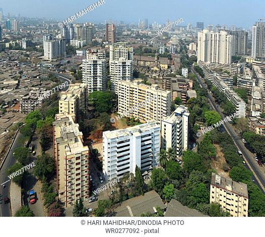 Aerial view of Parel suburb with high-rise of different architectural designs , Bombay Mumbai , Maharashtra , India