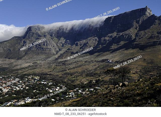 Mountains in a landscape, Table Mountain, Cape Town, Western Cape Province, South Africa