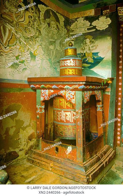 Prayer Wheel in Village Chorten. Paro Valley, Bhutan