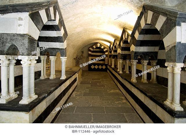 San Fruttuoso near Portofino Riviera di Levante Liguria Italy monastry graves in the tombs of the Doria familiy