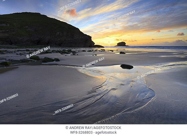 Portreath Beach on the North Coast of Cornwall, captured shortly before sunset in late May