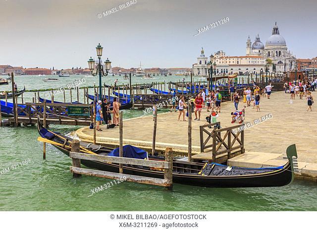 Gondolas in St Mark's Square pier. Venice, Italy. Europe