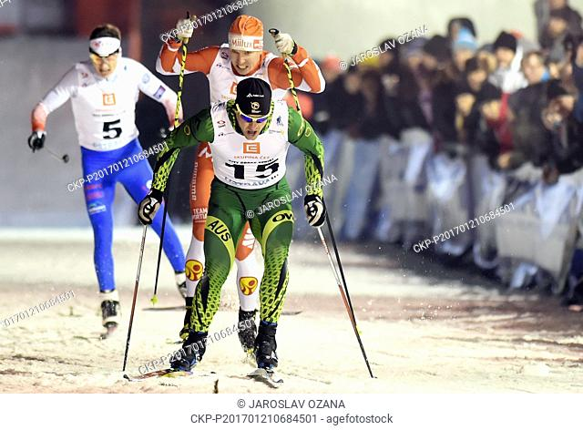 From left Czech cross-country skier Ondrej Dudek, Lasse Paakkonen from Finland and Australian cross-country skier Phillip Bellingham during the CEZ City Cross...