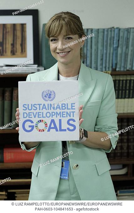 """United Nations, New York, USA, May 30 2018 - Jarmila Lajcakova-Hargasova PGA Wife participates in a dialogue on the theme """"""""Missing Peace"""