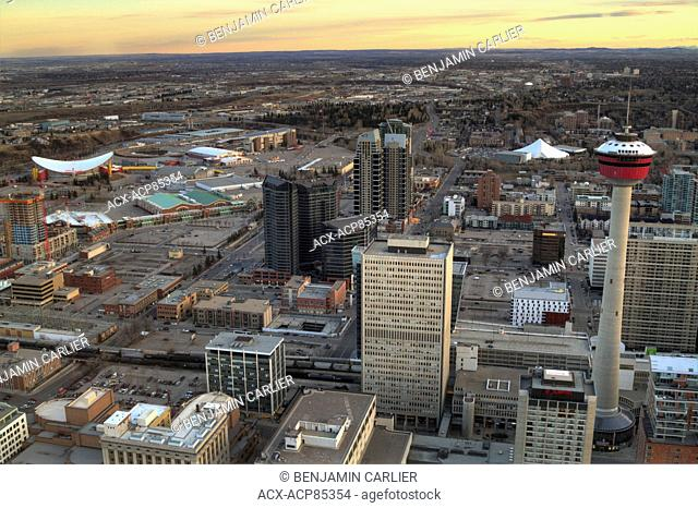 The Saddledome, stampede grounds, Calgary Tower, Talisman Centre and west downtown Calgary before sunset as seen from the Bow Tower, Alberta, Canada