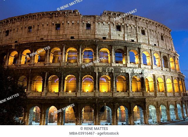Italy, Rome, coliseum, illuminates, evening