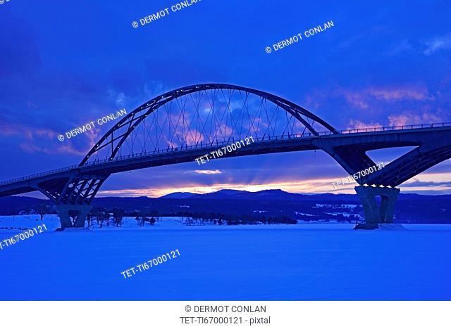 Lake Champlain Bridge connecting New York and Vermont States at dusk