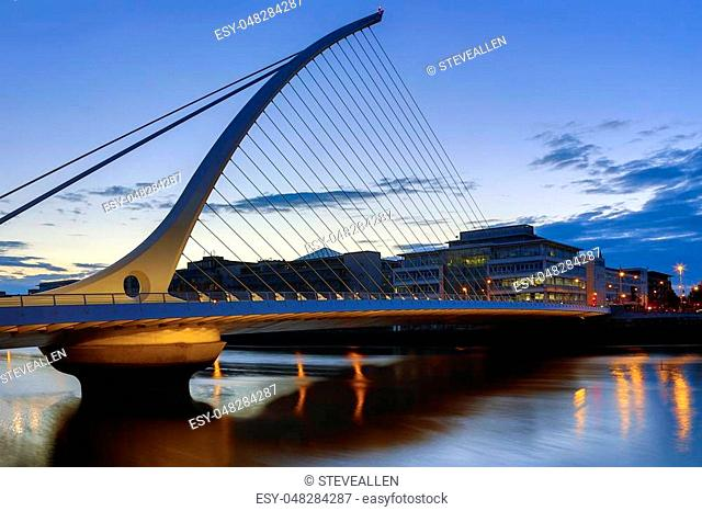 The Samuel Beckett Bridge and the buildings on the waterfront near the Convention Center - Dublin city center in the republic of Ireland