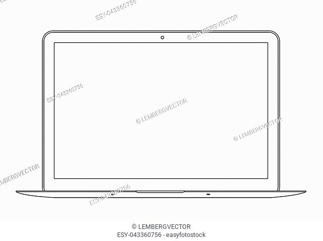 Outline drawing laptop. Elegant thin line style design. Vector illustration