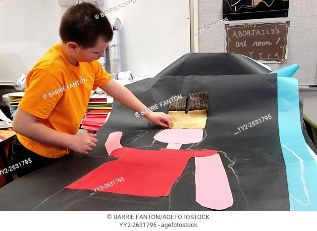 6th Grade Boy Working on Art Project, Wellsville, New York