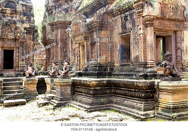 The temple of Banteay Srei (Citadel of Women) close to Angkor Wat, Siem Reap, Cambodia. Banteay Srei is built largely of red sandstone
