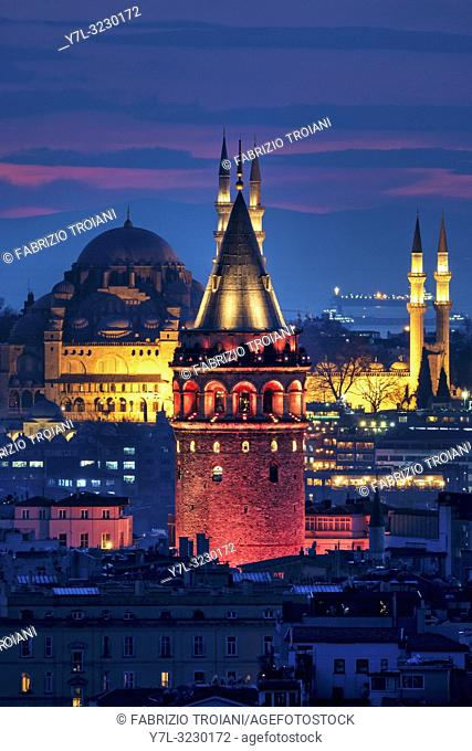 View of the Galata tower and the Süleymaniye mosque, Istanbul
