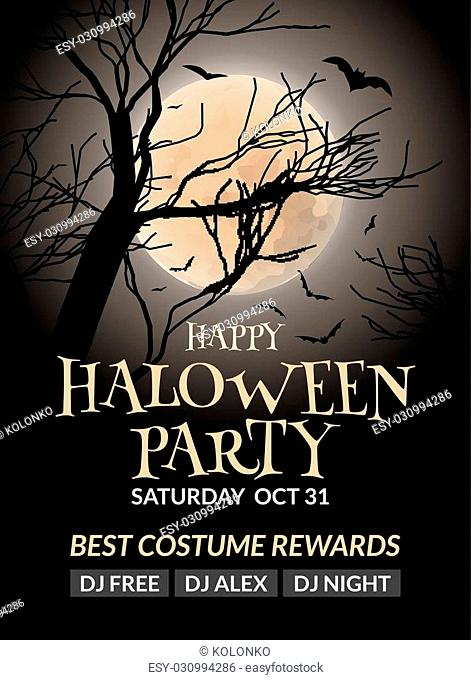 Halloween flyer or poster design template. Halloween invitation layout wuth tree, moon and bat